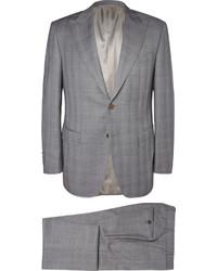 Costume à carreaux gris Canali