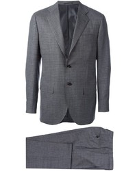 Costume à carreaux gris Kiton