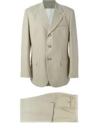 Costume à rayures verticales beige
