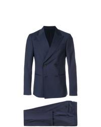 Costume à rayures verticales bleu marine Z Zegna