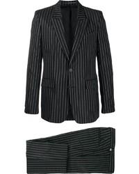 Costume à rayures verticales noir et blanc
