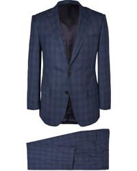 Costume en laine à carreaux bleu marine