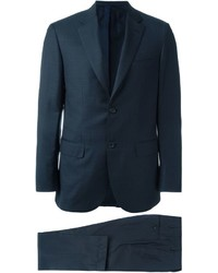 Costume en laine à carreaux bleu marine Brioni