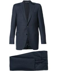 Costume en laine à carreaux bleu marine Canali