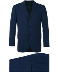 Costume en laine à carreaux bleu marine Kiton