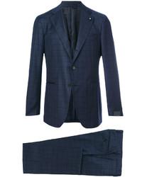 Costume en laine à carreaux bleu marine Lardini