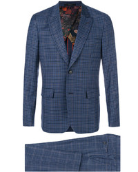 Costume en laine à carreaux bleu marine Paul Smith