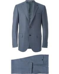 Costume en laine à carreaux bleu Canali