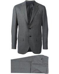 Costume en laine à carreaux gris foncé Kiton