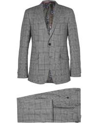 Costume en laine à carreaux gris Etro