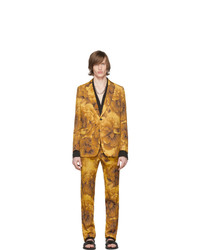 Costume en laine à fleurs jaune Dries Van Noten