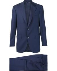 Costume en laine à rayures verticales bleu marine