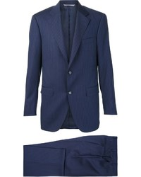 Costume en laine à rayures verticales bleu marine Canali