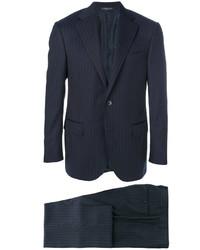 Costume en laine à rayures verticales bleu marine Corneliani