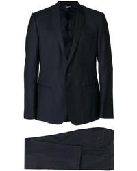 Costume en laine à rayures verticales bleu marine Dolce & Gabbana