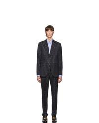 Costume en laine à rayures verticales bleu marine Gucci