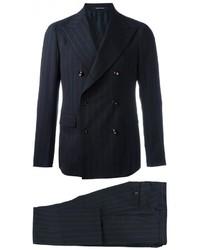 Costume en laine à rayures verticales bleu marine Tagliatore