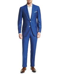 Costume en laine à rayures verticales bleu