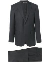 Costume en laine à rayures verticales gris foncé