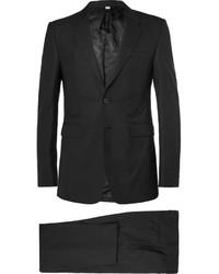 Costume en laine à rayures verticales noir Burberry