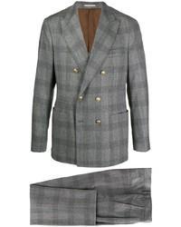 Costume en laine écossais gris Brunello Cucinelli