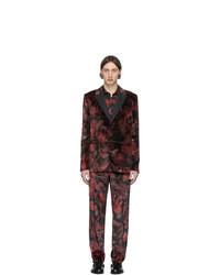 Costume en velours à fleurs rouge et noir Paul Smith