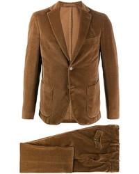 Costume en velours côtelé marron