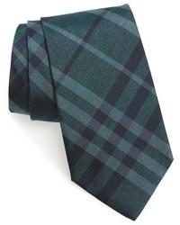 Cravate à carreaux bleu canard