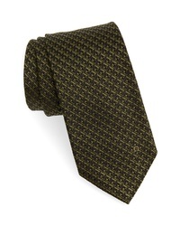 Cravate à carreaux olive