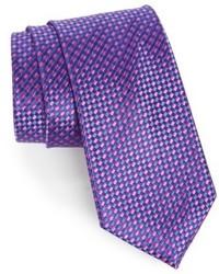 Cravate à carreaux violette
