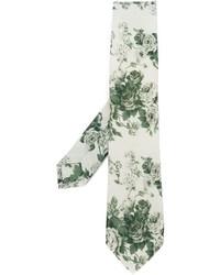 Cravate à fleurs beige