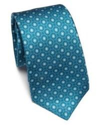 Cravate à fleurs bleu canard