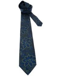 Cravate à fleurs bleu marine