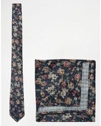 Cravate à fleurs bleu marine Asos