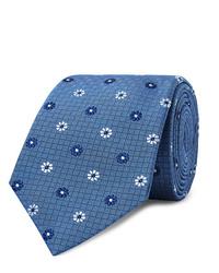 Cravate à fleurs bleue Turnbull & Asser