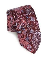 Cravate à fleurs bordeaux
