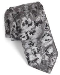 Cravate à fleurs gris foncé
