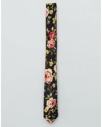 Cravate à fleurs noir Asos