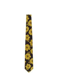 Cravate à fleurs noire Dries Van Noten