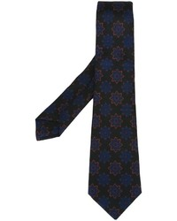 Cravate à fleurs noire Kiton