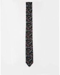 Cravate à fleurs noire Reclaimed Vintage