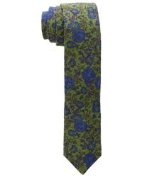 Cravate à fleurs olive