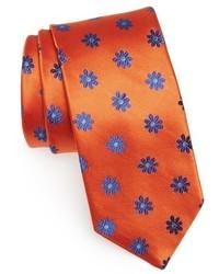 Cravate à fleurs orange