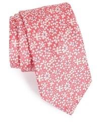 Cravate à fleurs rose