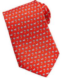 Cravate à fleurs rouge