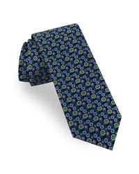 Cravate à fleurs vert foncé
