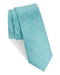 Cravate à fleurs vert menthe