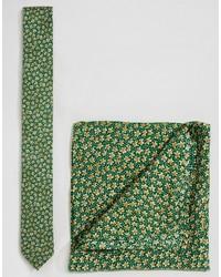 Cravate à fleurs verte Asos