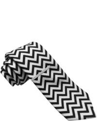 Cravate à motif zigzag noire et blanche