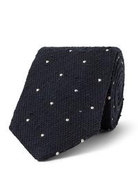 Cravate á pois bleu marine et blanc Drake's